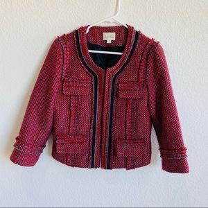 Nordstrom Hinge Red Tweed Wool Blazer Jacket S